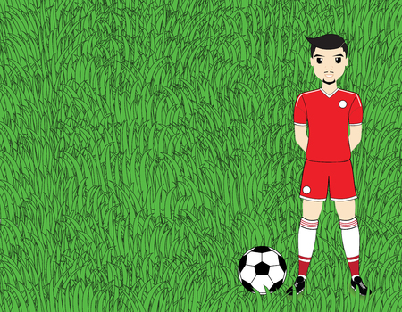 soccer field: Soccer player with ball on football stadium field