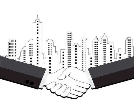 city landscape: Two business men shaking hands on city landscape background .business concept