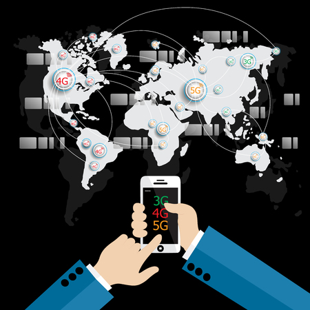 5g: Modern communication technology mobile phone high tech, wide web connection concept. Hand holding smartphone connected browsing internet worldwide world map background. 3g,4g,5g data plan provider