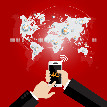 provider: Modern communication technology mobile phone high tech, wide web connection concept. Hand holding white smartphone connected browsing internet worldwide world map background. 4g data plan provider