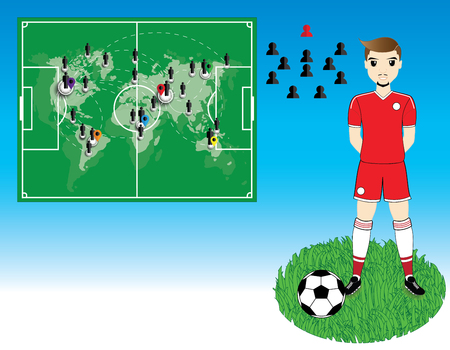 world player: Soccer player with world map on blue background
