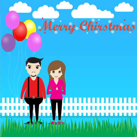 christmas day: Couple with balloons in Christmas day