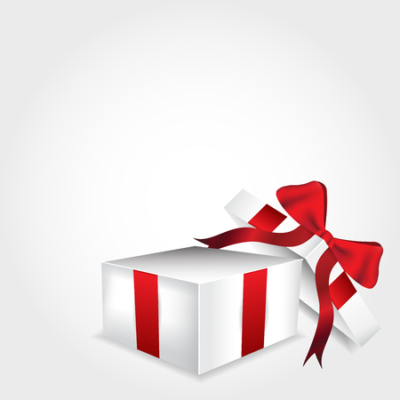 red gift box: Open gift box with red ribbon