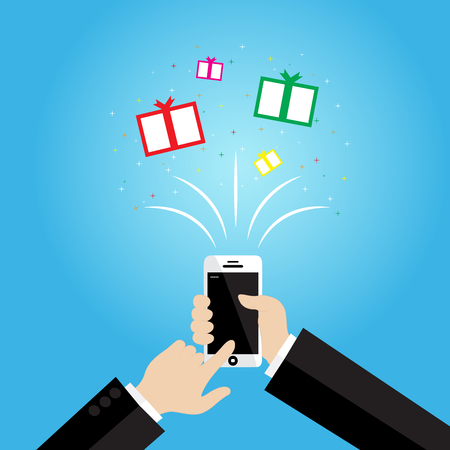 phone time: Delivered in time for Chirstmas, wrapped gifts coming out of mobile phone screen