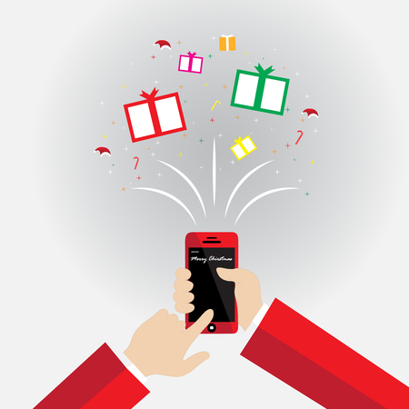 delivered: Delivered in time for Chirstmas, wrapped gifts coming out of mobile phone screen