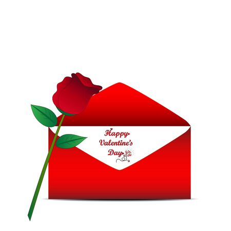 red envelope: Red rose and red envelope on white background