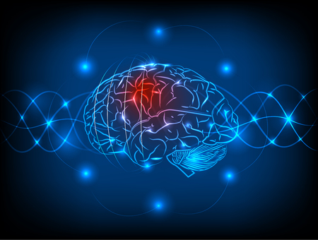 electric circuit: Abstract electric circuit brain,tecnology concept