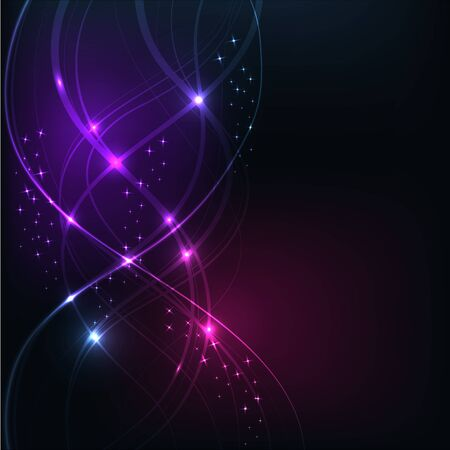 overlaying: Background with Overlaying wavy lines with starson dark background