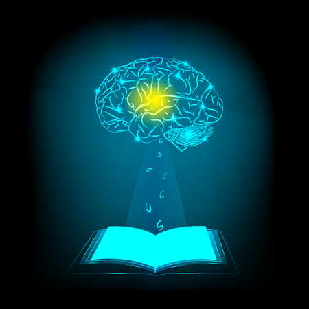 electric circuit: Abstract electric circuit open book,brain concept Stock Photo