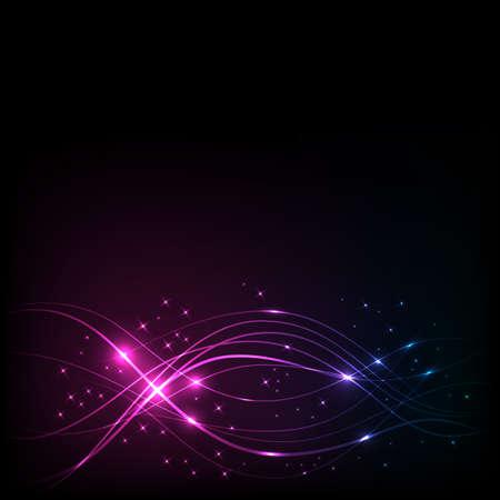 overlaying: Overlaying wavy lines with starson dark background Illustration