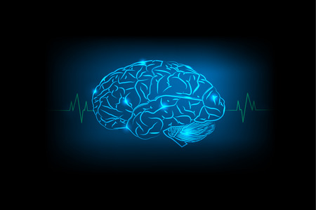 electric circuit: Brain Concept electric circuit of blue background Illustration