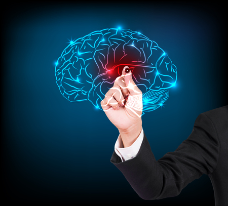 embolism: Businessman hand writing and drawing brain on a touch screen interface