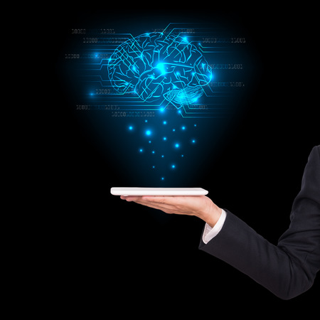 Close-up of business man brain with tablet in hand