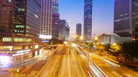 urban road: Hong Kong city and traffic of street