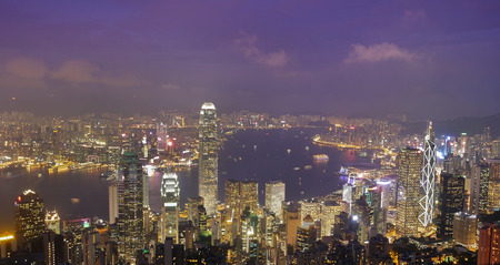 Skyline of Hong Kong city at twilight time, view from The Peak