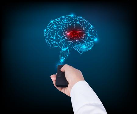 Kobieta gospodarstwa pilota zdalnego sterowania TV z mózgu na niebieskim tle Zdjęcie Seryjne