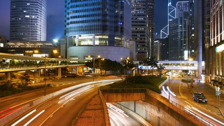 Hong Kong city and traffic of street
