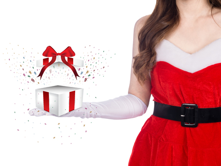 Santa girl holding christmas gift on white background, christmas holiday concept