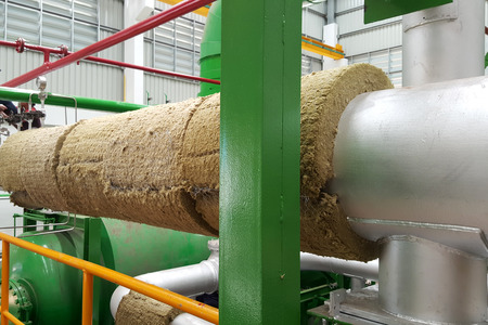 Steam pipe insulation for power plant steam turbine Stockfoto - 112346886