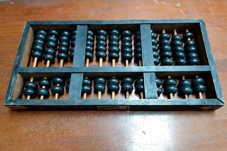 Traditional counter called Chinese abacus on the table