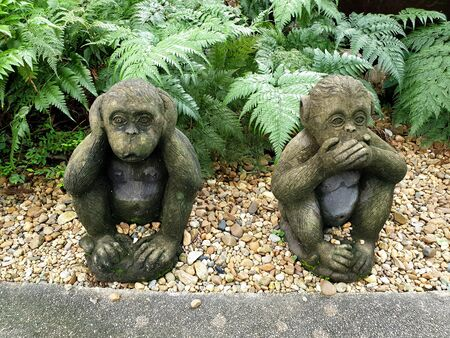 Two of three wise monkeys in the garden : Three wise monkeys are a pictorial maxim, embodying the proverbial principle