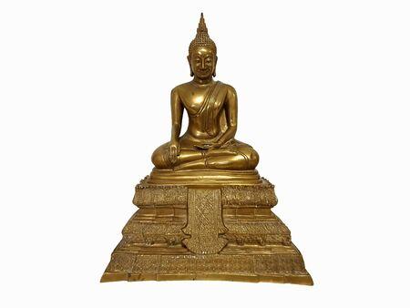 The brass ฺBuddha image on a white background.