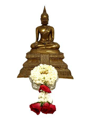 The Buddha image with jasmine garland, made of rose and Jasmine flowers for worship Buddha image isolated on a white background.