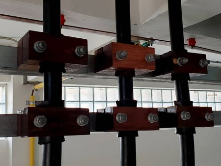 22kV Electrical power cable installation in cable room of substation. Foto de archivo