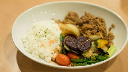 Asian dish with meat and vegetables