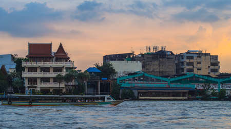 23 October, 2017 - Bangkok, Thailand: Chao Phraya River at sunset