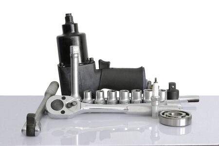 pneumatic: Pneumatic wrench, drive socket set, ball bearing, on over white, and reflections