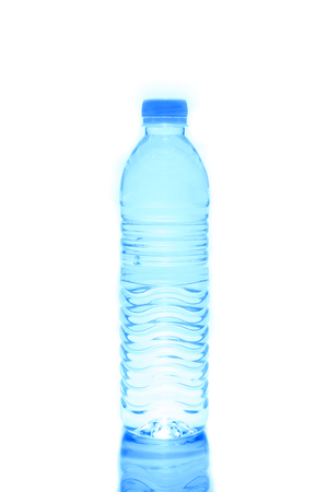 Plastic bottle of drinking water isolated on white Standard-Bild