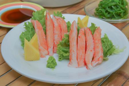 crabmeat: Imitation Alaska Crab Stick with Shoyu sauce, vegetables Stock Photo