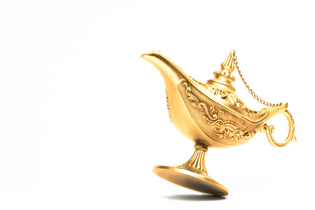Ornate Magic lamp of Aladdin isolated