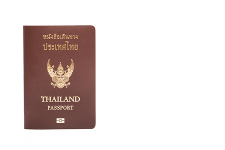 customs official: thailand passport isolated on white background