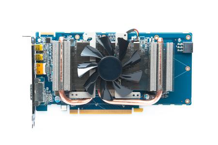 graphic card: Computer scheda grafica, scheda VGA Isolato su sfondo bianco. Archivio Fotografico