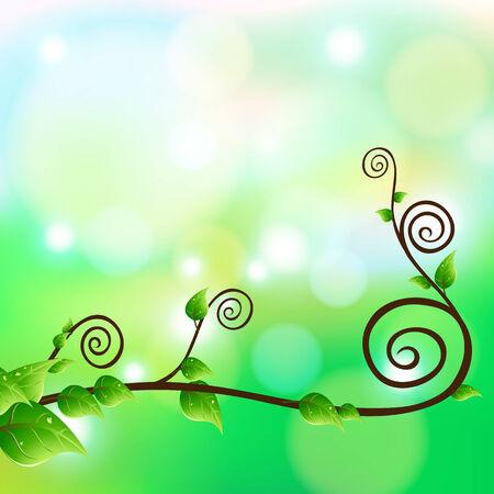 creeping plant flora and bokeh, vector, Illustrator Illustration