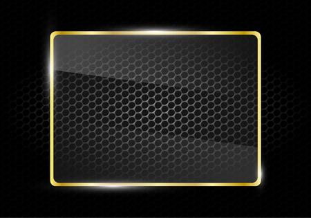 square glass gold frame on metal mesh pattern background, Vector, illustration Illustration