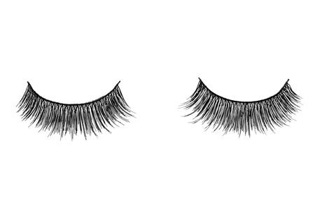 false eyelashes isolated on white Standard-Bild