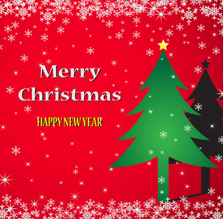 Merry Christmas red background, vector illustration