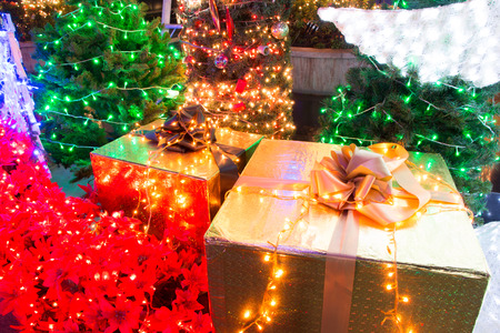 garden decorated and lighted for Christmas and for New Year Eve at Night. Stok Fotoğraf