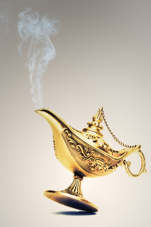three wishes: Ornate Magic lamp of Aladdin isolated