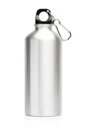 Aluminum bottle water isolated white background Standard-Bild