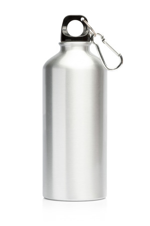 Aluminum bottle water isolated white background Archivio Fotografico
