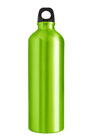 Aluminum bottle water isolated white background Stockfoto