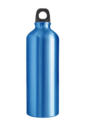 still water: Aluminum bottle water isolated white background Stock Photo