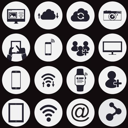 коммуникация: технологии и сетевые иконы иконы - вектор