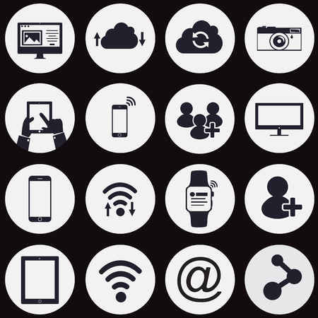 comunicazione: la tecnologia e le icone di rete icone - vettore