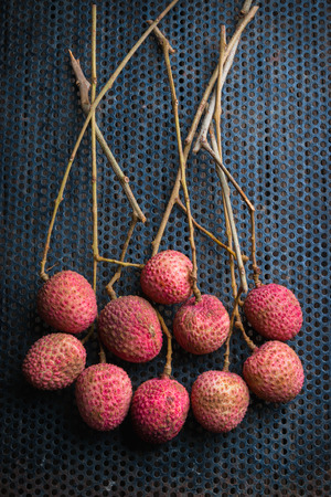 lichi: still life litchi, lichee, or lichi, Litchi chinensis organic Stock Photo