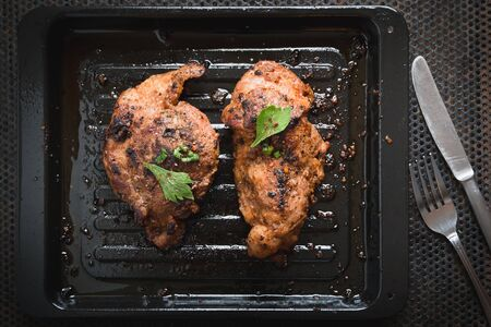 flesh eating animal: Pork steak seasoned with pepper, salt, spices, herbs crushed, with cayenne pepper for good health.
